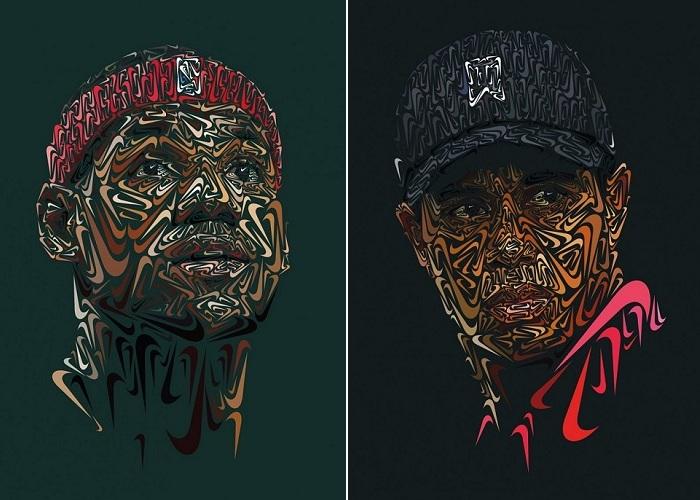 Портреты спортсменов, сделанные из логотипа компании Nike.