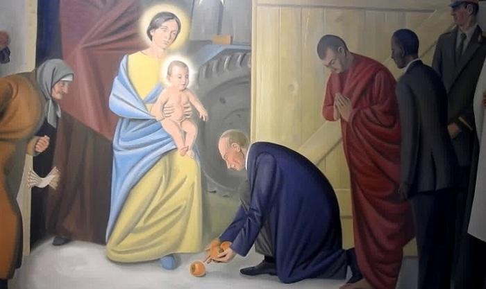 Нетрадиционная фреска в Витебском костеле. | Фото: russian.rt.com.