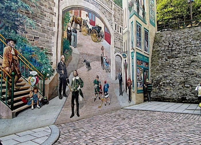 La Fresque des Quebecois - фреска на городской стене в Квебеке.