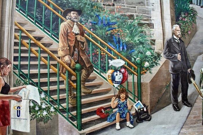 Фреска с историческими достопримечательностями Квебека.