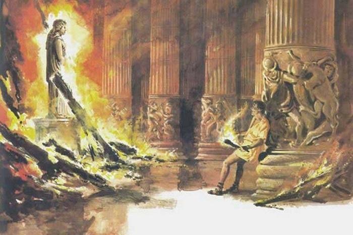 Геростат поджигает храм Артемиды Эфесской. | Фото: realnewsland.ru.