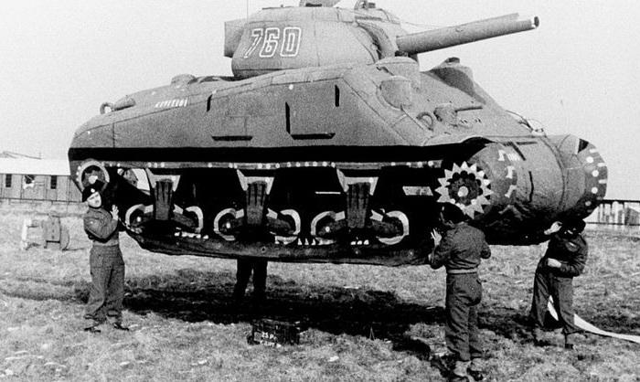 «Надувная армия» - спец. отряд по имитации боевой техники времен Второй мировой войны.