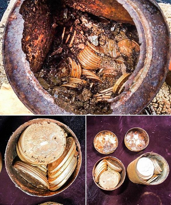 Золотые монеты, выкопанные на заднем дворе дома. | Фото: dream.co.id.