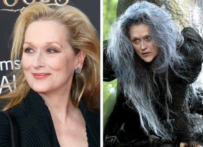 Потрясающая актриса Мерил Стрип (Meryl Streep) в роли ведьмы в к/ф «Чем дальше в лес…» (2014). | Фото: img.clipd.com.