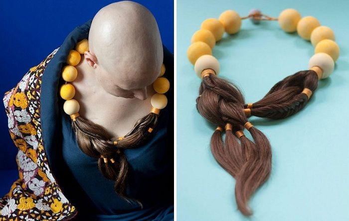 Украшения, сделанные из волос онкобольных.