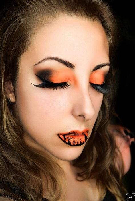 Оригинальный макияж для праздника Halloween.