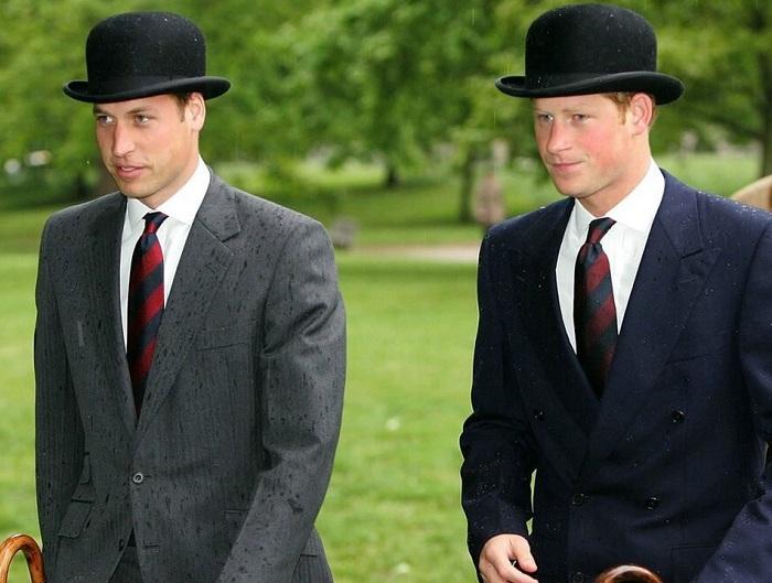 Принцы Уильям и Гарри в шляпах-котелках. | Фото: fashionstime.ru.
