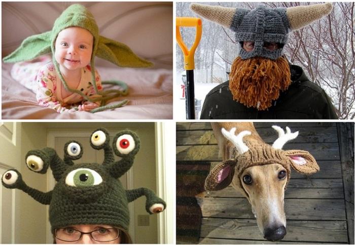 Креативные вязаные шапки.