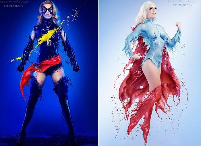 «Splash Heroes» - фотопроект девушек - героинь в молочных костюмах.