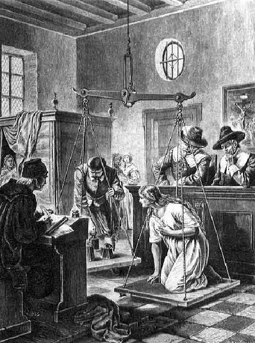 Французская гравюра конца XIX века, изображающая ритуал взвешивания в Аудеватере. | Фото: scisne.net.