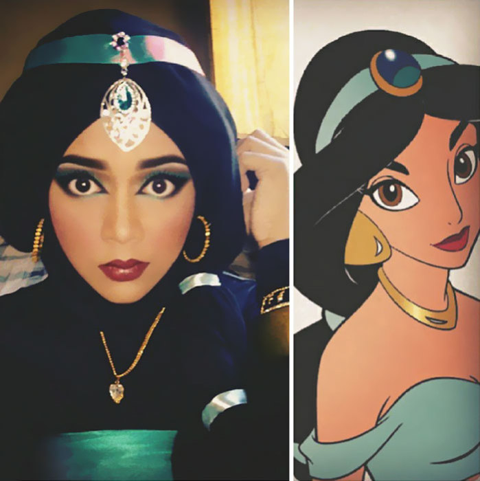 Девушка создает известные образы при помощи визажа и хиджаба.