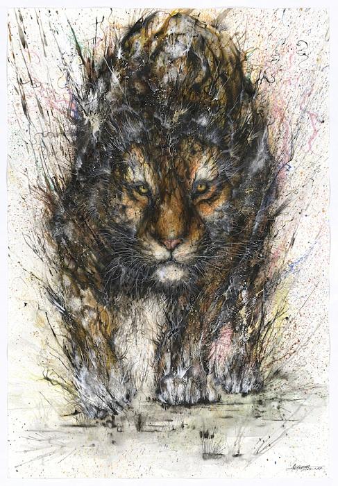 Тигр, нарисованный брызгами красок.