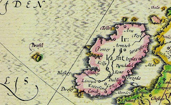 Древняя карта с изображением мифического острова Хай-Бразил.