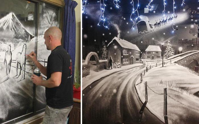 Парень рисует картины на окнах «снежным» спреем.