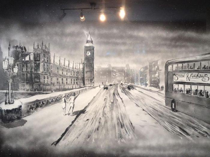 Рисунок на окне художника Тома Бейкера.