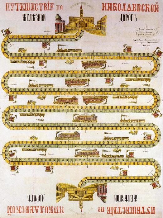 Игра «Путешествие по Николаевской железной дороге», 1857 год. | Фото: img-fotki.yandex.ru.