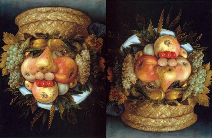 Корзина с фруктами. Джузеппе Арчимбольдо , 1590 год.