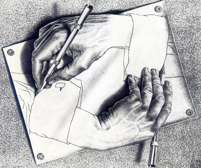 Рисующие руки. Мауриц Эшер, 1948 г.