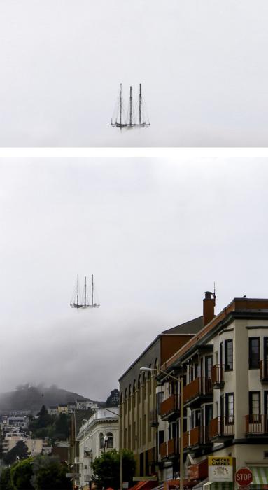 Телевышка в тумане напоминает летучий корабль.