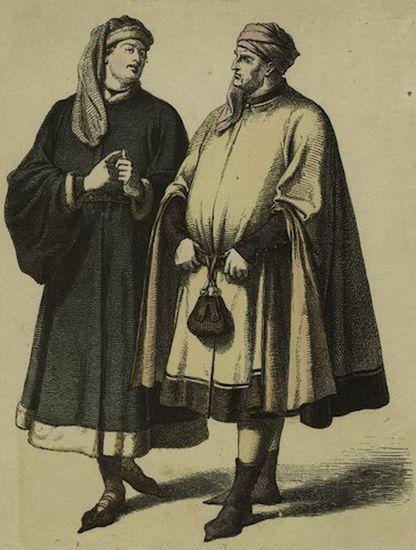 Мужчины с мешочками для хранения монет. | Фото: история-вещей.рф.