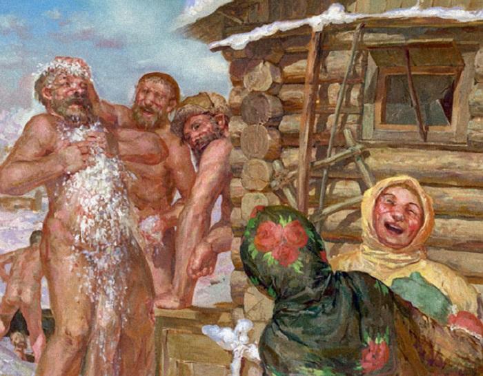 На Руси женщины и мужчины мылись в банях все вместе. | Фото: магазин.бани.рф.