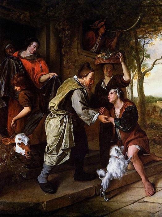 Возвращение блудного сына. Ян Стен, 1668-1670 гг. | Фото: artist-gallery.ru.