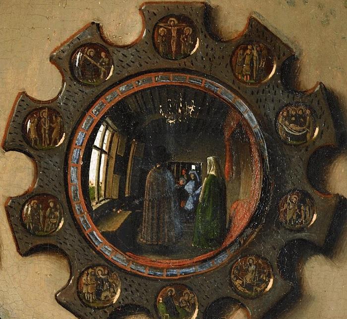 Портрет четы Арнольфини. Фрагмент: зеркало. Ян ван Эйк, 1434 год. | Фото: a395.idata.over-blog.com.