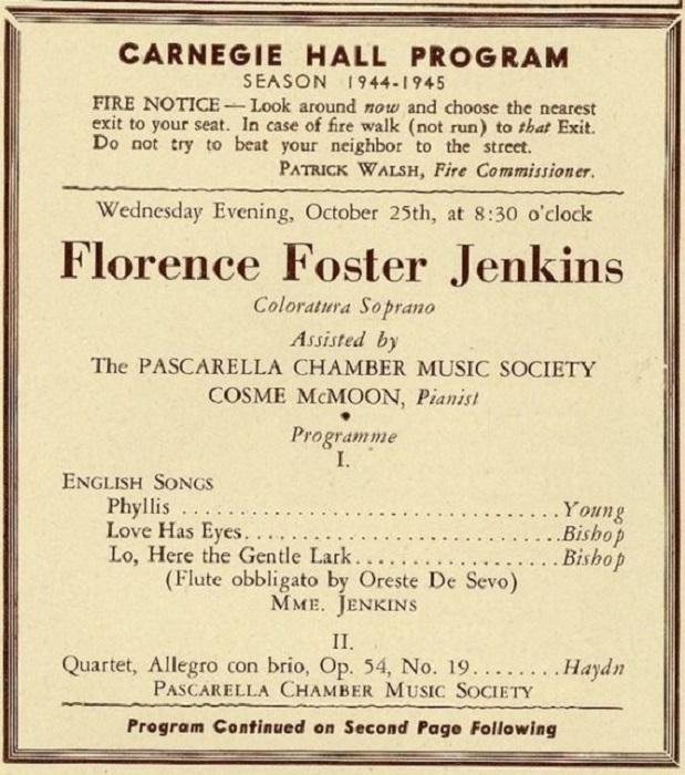 Афиша выступления Флоренс Фостер Дженкинс в 1944 году в Карнеги-холл. | Фото: thevintagenews.com.