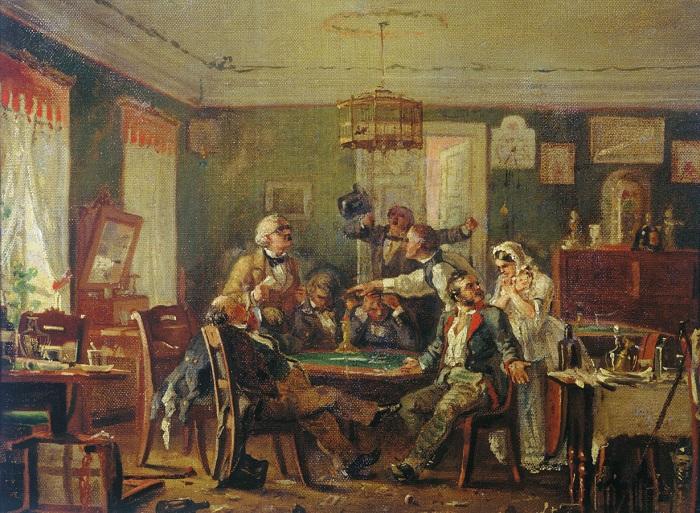 Карточная игра, эскиз. Н. П. Петров, 1876 год. | Фото: regnum.ru.