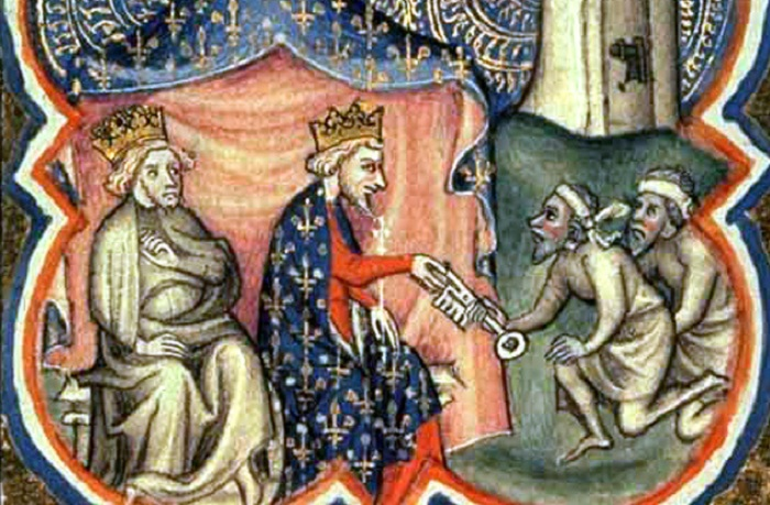 Ричард Львиное Сердце и Филипп Август принимаюn ключи от Акры. | Фото: img.anews.com.