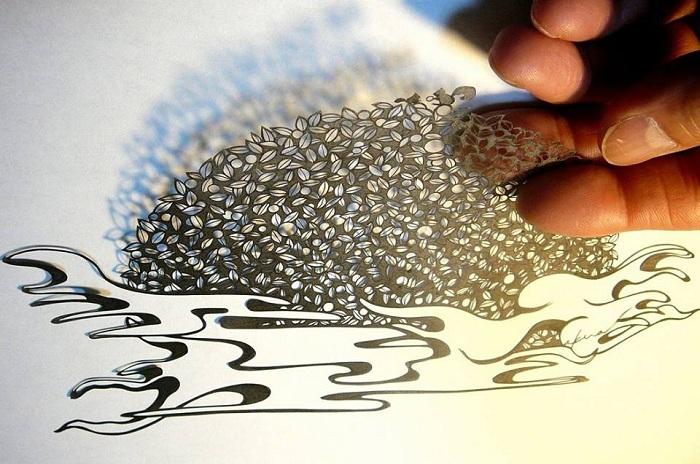 Узор, вырезанный из бумаги японским художником-самоучкой.