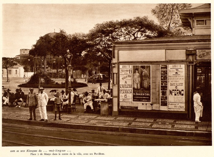Трамвайная остановка. Колониальный Мозамбик.