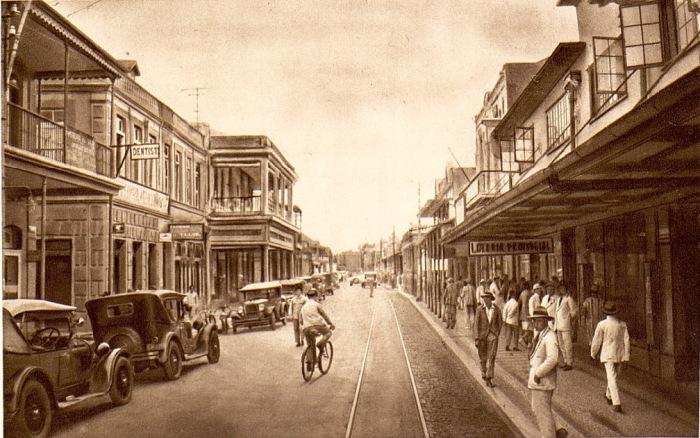 Ретро-снимок колониального Мозамбика в 1920-х годах. Ретро-снимок колониального Мозамбика в 1920-х годах. Вид на городскую улицу.