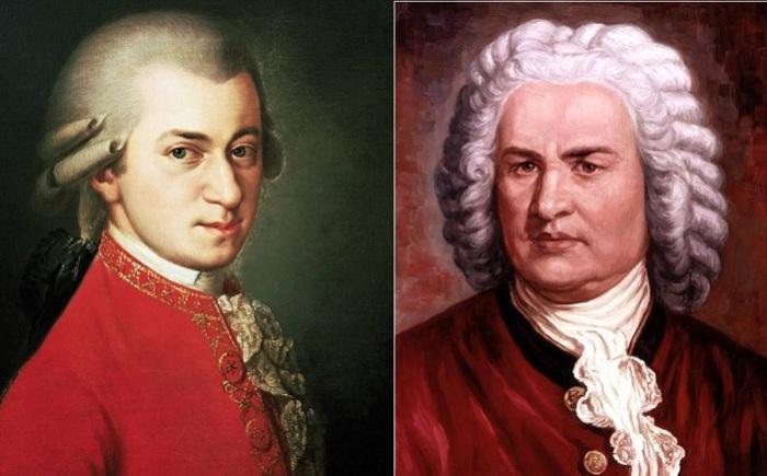 Великие композиторы Вольфганг Амадей Моцарт и Иоганн Себастьян Бах.