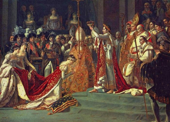 Коронование императора Наполеона I и императрицы Жозефины в соборе Парижской Богоматери 2 декабря 1804 года. Жак Луи Давид, 1805-1808 гг. | Фото: artelista.com.