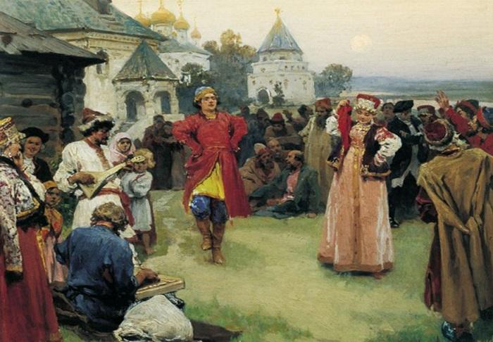 Пляски крепостных крестьян. | Фото: ds02.infourok.ru.