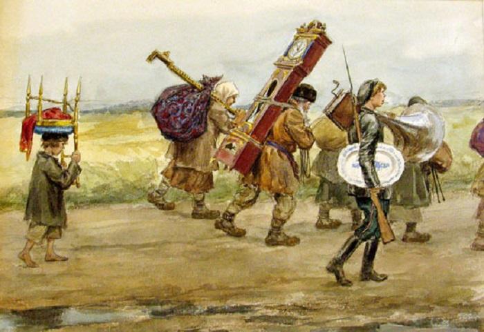 Многие дворянские усадьбы грабились крестьянами.  Фото: glazey.info.