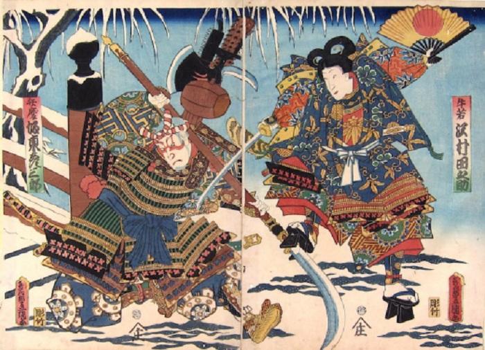 Бой самураев с использованием тэссена. | Фото: toshidama.files.wordpress.com.