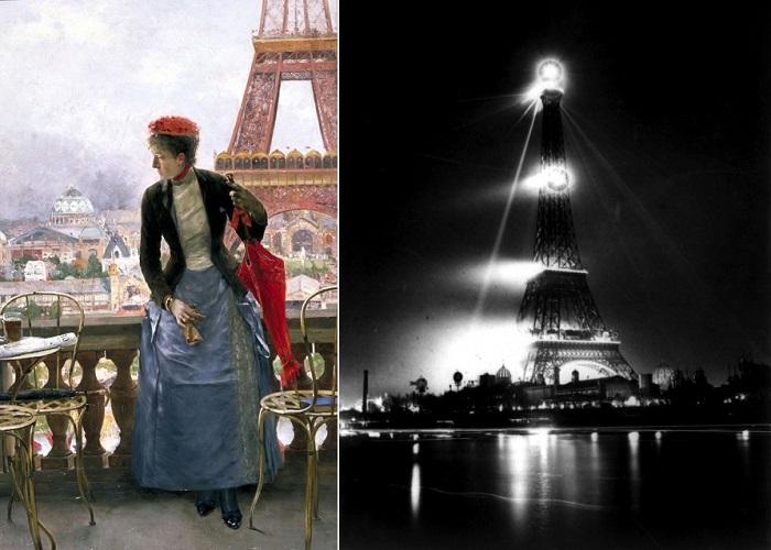 Подсветка Эйфелевой башни 100 лет назад.