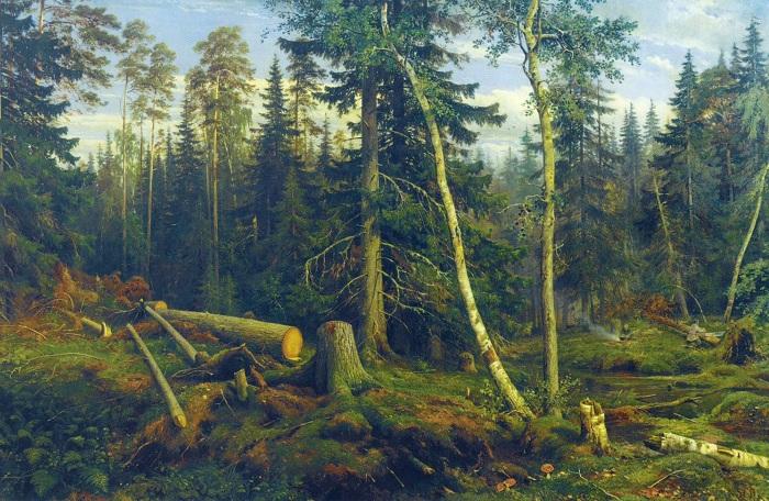 Рубка леса. И. Шишкин. 1867. | Фото: allpainters.ru.