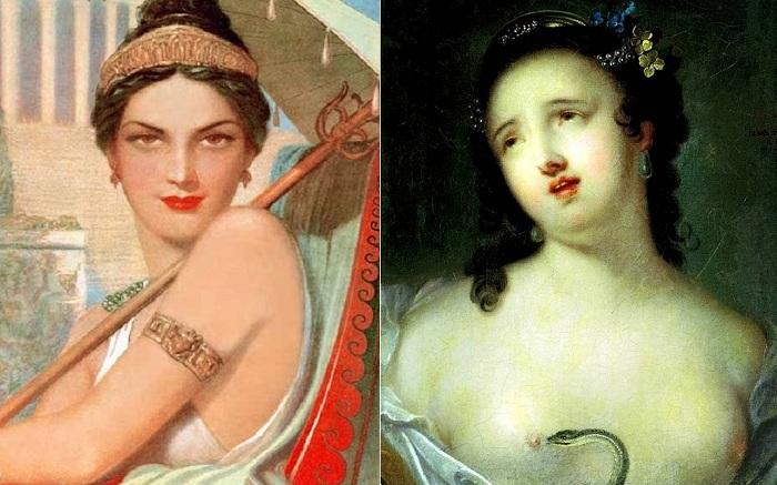 Слева: Римская распутница Мессалина, справа: Клеопатра, художник И. П. Аргунов.