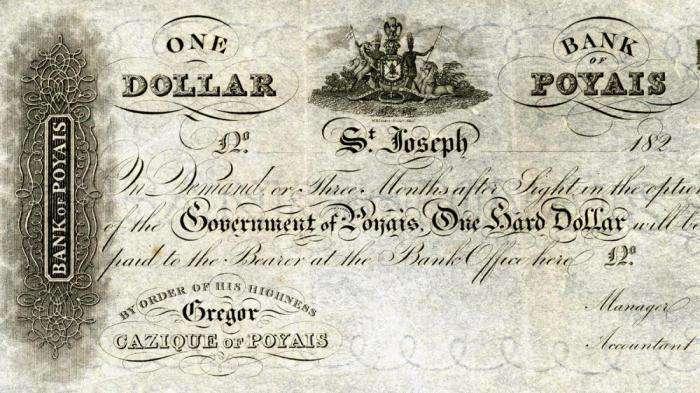 Банкнота в 1 доллар вымышленного государства Пояис. | Фото: adsl.zveronline.ru.