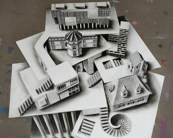 3D-рисунки, выполненные на нескольких листах бумаги.