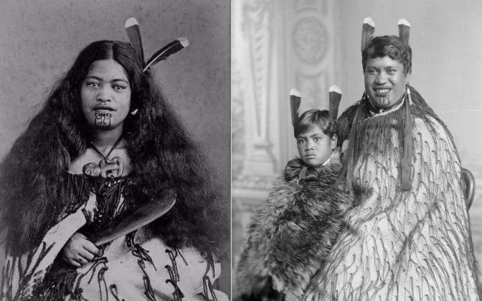 Винтажные фотографии представительниц народа маори.