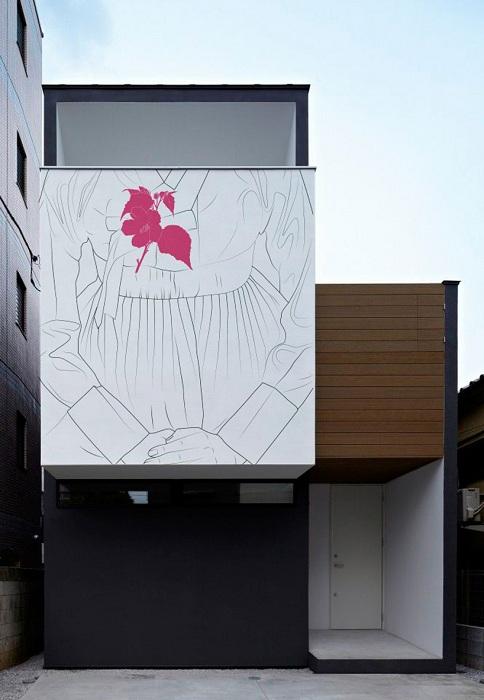 Оригинальная роспись стен японских домов.
