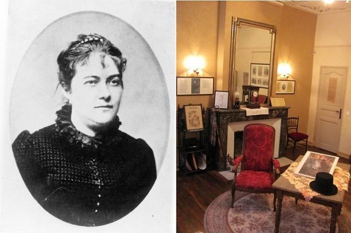 Справа: Матильда Моте - супруга Поля Верлена. Слева: дом поэта.