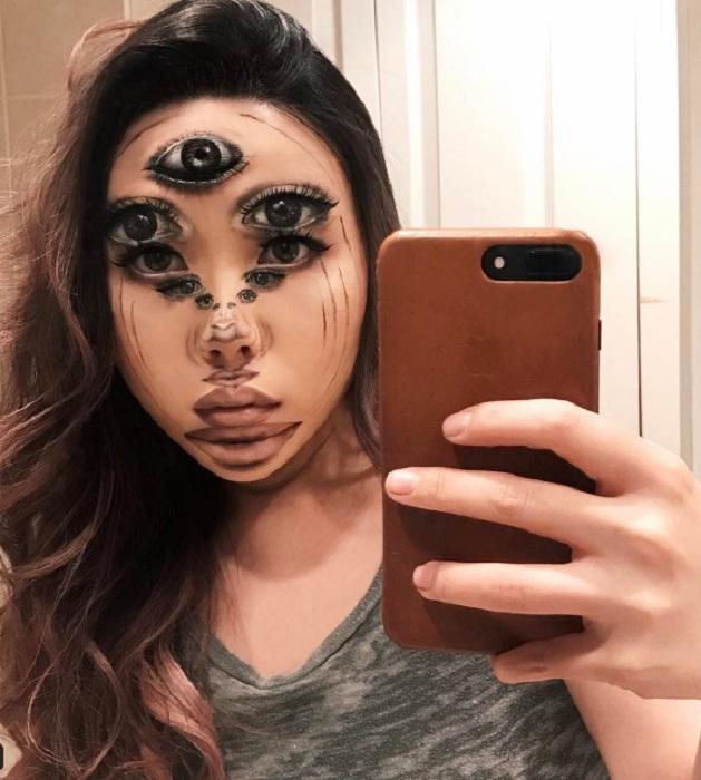 Жуткая оптическая иллюзия на лице Мими Чой. | Фото: odditycentral.com.