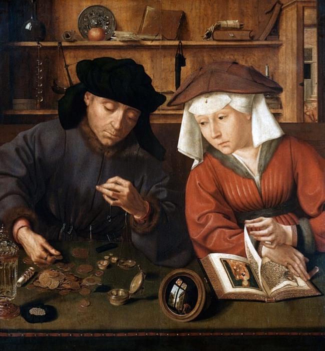 Меняла с женой. Квентин Массейс, 1514 год. | Фото: liveinternet.ru.