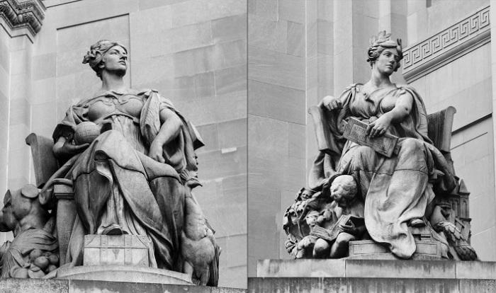 Скульптуры в Нью-Йорке (Мисс Манхэттен и Мисс Бруклин), натурщицей для которых была Одри Мэнсон. | Фото: reganarts.com.