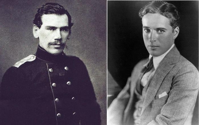 Лев Толстой и Чарли Чаплин в молодости.